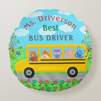 School Bus Driver Cute Animals | Personalized Name Round Pillow