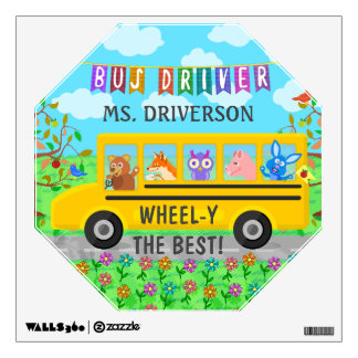 School Bus Driver Cute Animals | Personalized Name Wall Decal