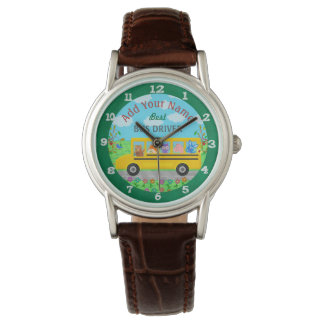 School Bus Driver Cute Animals | Personalized Name Watches