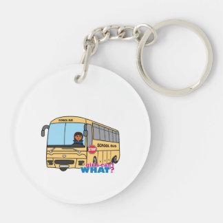 School Bus Driver Dark Double-Sided Round Acrylic Keychain
