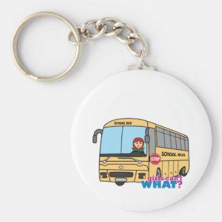School Bus Driver Light/Red Basic Round Button Keychain