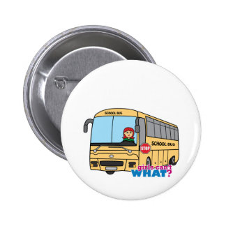 School Bus Driver Light Red Pinback Buttons