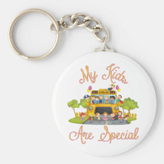 School bus driver My kids are special Basic Round Button Keychain