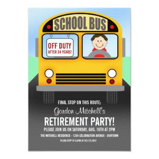 "School Bus Driver Retirement Party Invitations 5"" X 7"" Invitation Card"