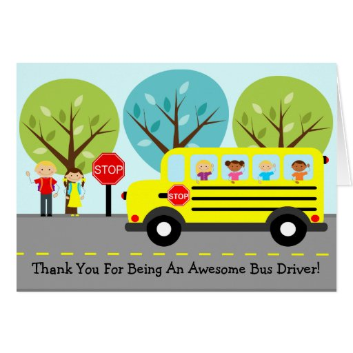 School Bus Driver Thank You Greeting Card | Zazzle