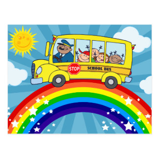 School Bus Driving on a Rainbow Postcard