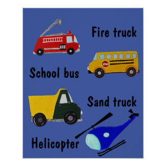 School bus, fire, sand truck and helicopter poster