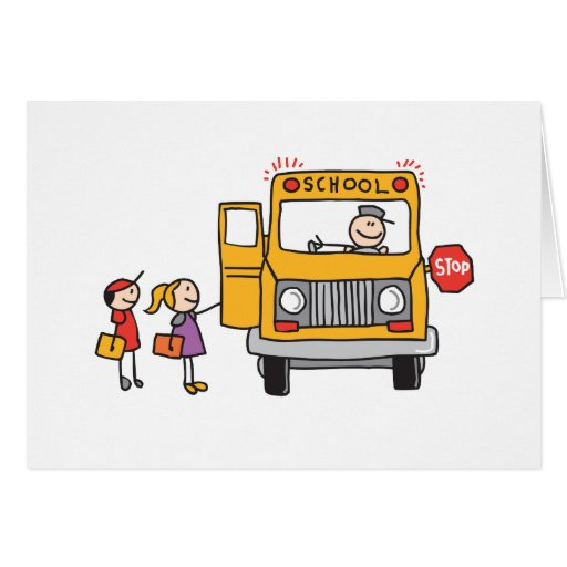 school bus greeting card zazzle. Black Bedroom Furniture Sets. Home Design Ideas