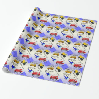 School bus, helicopter, fire and san truck wrapping paper