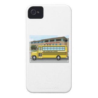 School Bus in Front of School iPhone 4 Case