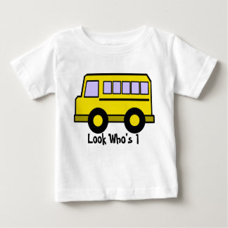 School Bus/ Look Who's 1 Baby T-Shirt