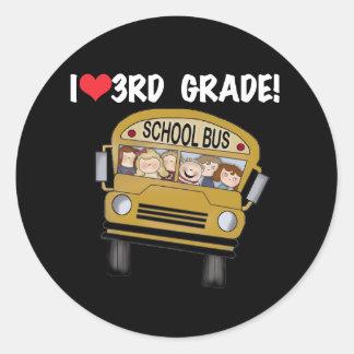 School Bus Love 3rd Grade Round Sticker