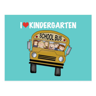 School Bus Love Kindergarten Postcard