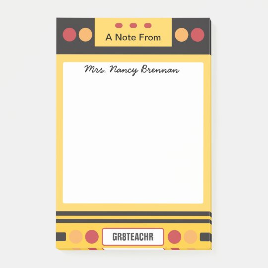 School Bus Personalized Teacher Post-it Notes