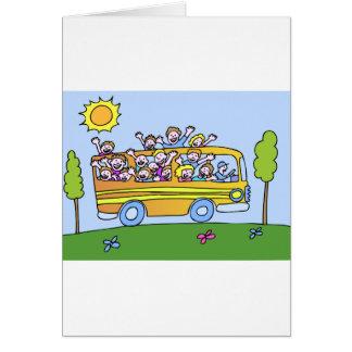 School Bus Riders Cartoon Greeting Card