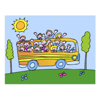 School Bus Riders Cartoon Postcard