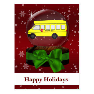 School bus snow globe Corporate HolidayGreetings Postcard