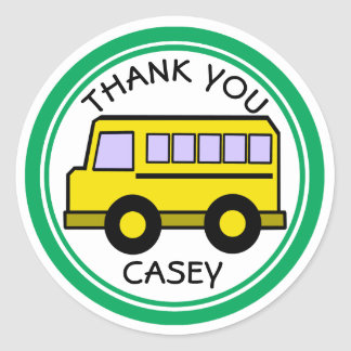 School Bus Thank You Classic Round Sticker
