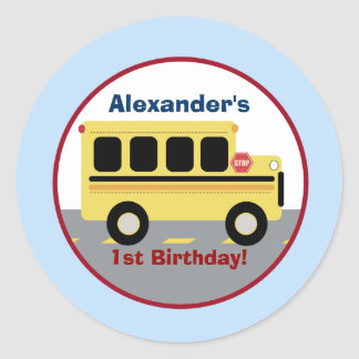 School Bus Town Round Custom Favor Sticker