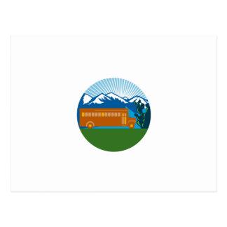 School Bus Vintage Cactus Mountains Circle Retro Postcard