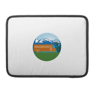School Bus Vintage Cactus Mountains Circle Retro Sleeve For MacBook Pro