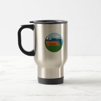 School Bus Vintage Cactus Mountains Circle Retro Travel Mug