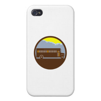 School Bus Vintage Mountains Circle Retro Cases For iPhone 4
