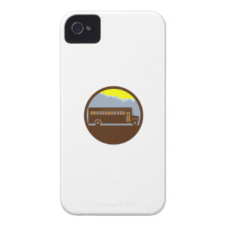 School Bus Vintage Mountains Circle Retro iPhone 4 Cases
