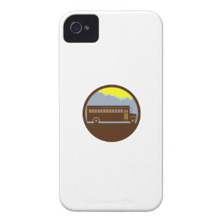 School Bus Vintage Mountains Circle Retro iPhone 4 Cover