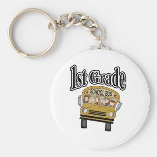 School Bus with Kids 1st Grade Basic Round Button Keychain