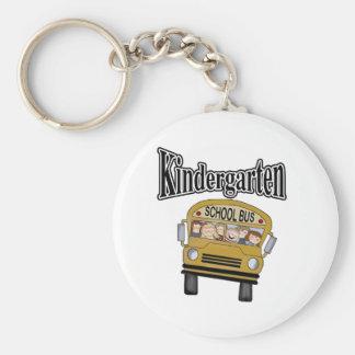 School Bus with Kids Kindergarten Basic Round Button Keychain