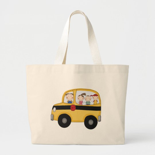 School Bus with Kids T-shirts and Gifts Large Tote Bag