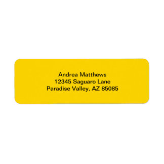 School Bus Yellow Solid Color Return Address Label