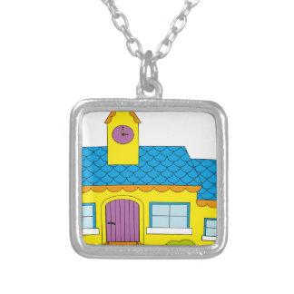School Cartoon Silver Plated Necklace