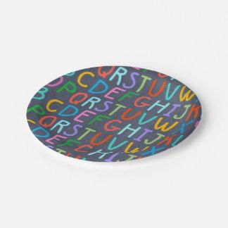 School Chaulkboard alphabet party paper plate