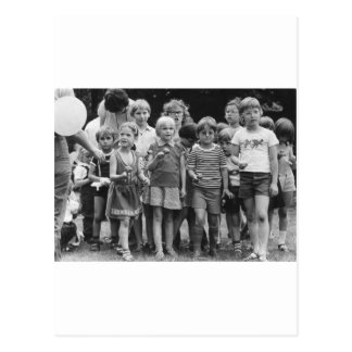 school children start egg and spoon race postcard