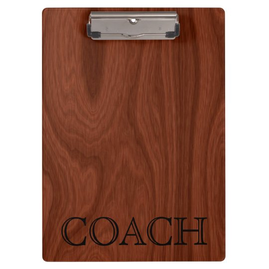 School Coach Gift | Classy Mahogany Wood Look Clipboard