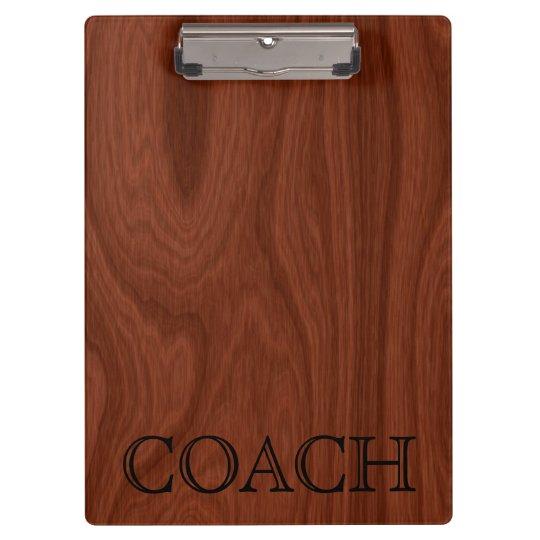 School Coach Gift | Classy Mahogany Wood Look Clipboards