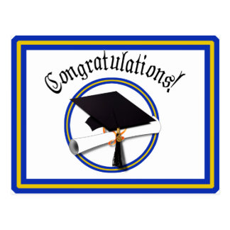 School Colors Blue & Gold Grad Cap w/Diploma Postcard