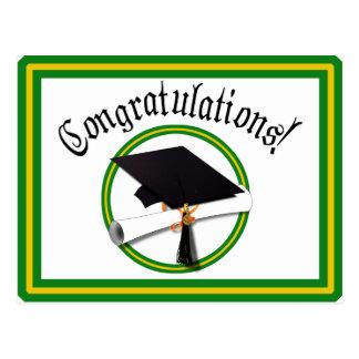 School Colors Green & Gold Grad Cap w/Diploma Postcard