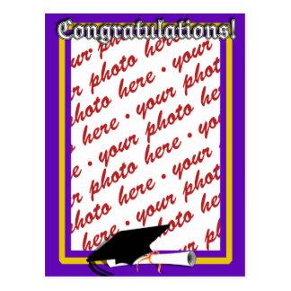 School Colors Purple & Gold Graduation Frame Post Card