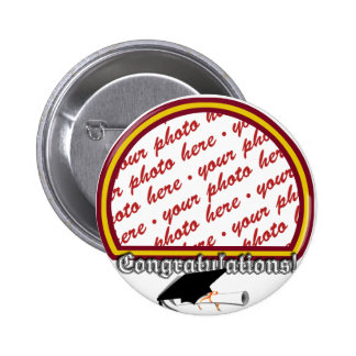School Colors Red & Gold Graduation Photo Frame 2 Inch Round Button