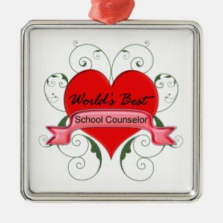 School Counselor Silver-Colored Square Ornament