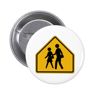 School Crossing Street Sign 2 Inch Round Button