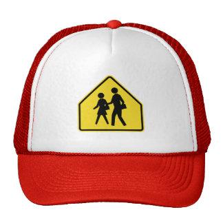 School Crossing,Traffic Warning Sign, USA Trucker Hat