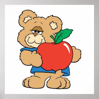 School Days Apple Teddy Bear Poster