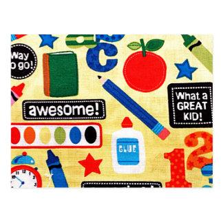 School Days Fabric Print Postcard