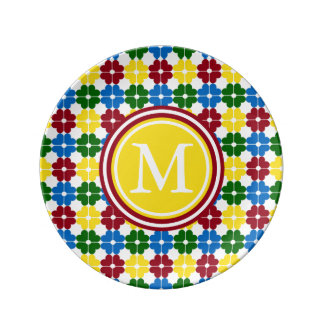 School Days Heart Flowers Monogram Plate