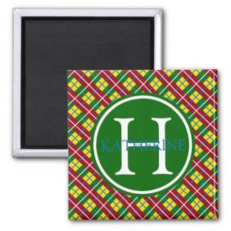 School Days Lunch Box Plaid Monogram Magnet