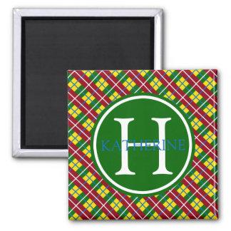 School Days Lunch Box Plaid Monogram Square Magnet